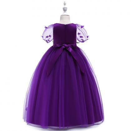 Long Flower Girl Dress Short Sleeve..