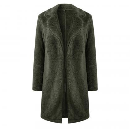 Women Plush Coat Winter Thick Long..