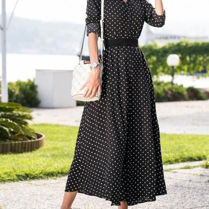 Women Polka Dot Maxi Dress Split Lo..