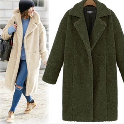 Women Faux Fur Teddy Coat Turn-dow..
