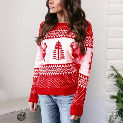 Women Knitted Sweater Christmas Dee..
