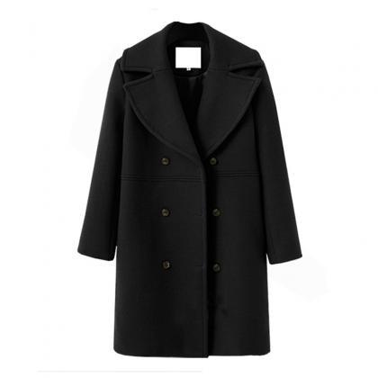 Women Woolen Trench Coat Autumn Wi..