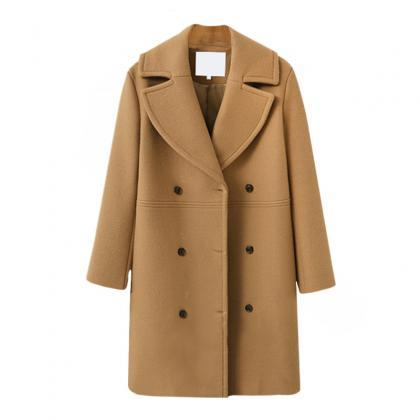 Women Woolen Trench Coat Autumn Win..