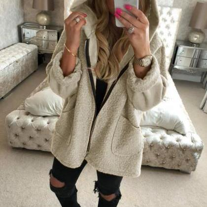 Women Plush Coat Autumn Winter Hood..
