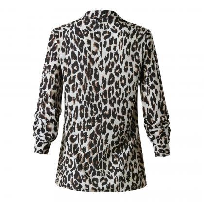 Women Leopard Printed Blouse Autumn..