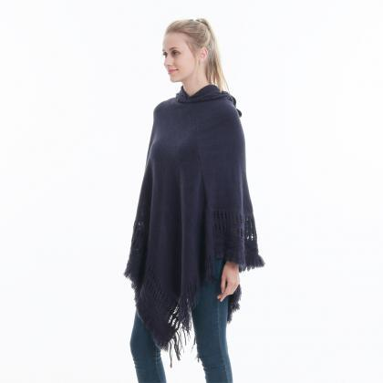 Women Tassel Cape Coat Autumn Winte..