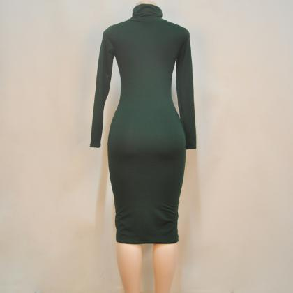 Women Midi Pencil Dress Autumn Turt..