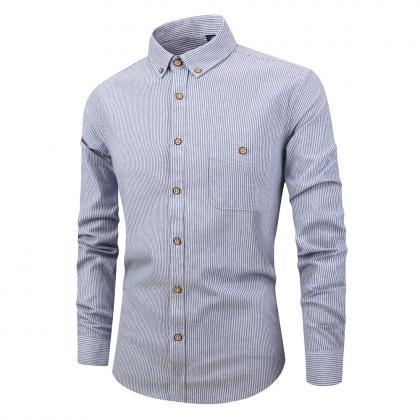 Men Striped Shirt Fashion Long Sle..