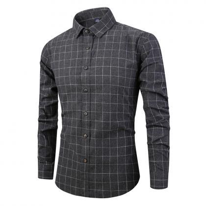 Men Plaid Shirt Spring Autumn Singl..