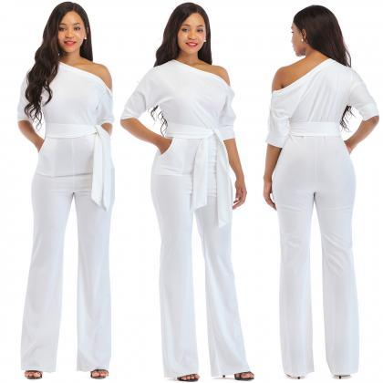Women Jumpsuit Off the Shoulder Hal..