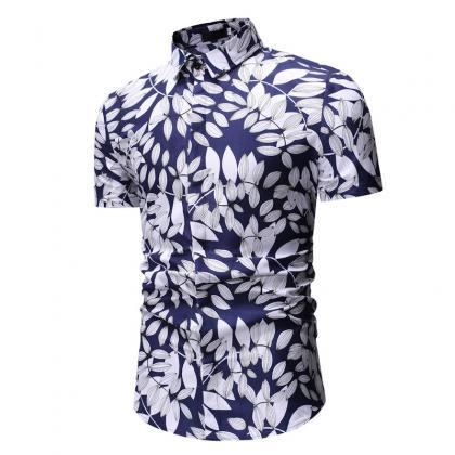 Men Floral Printed Shirt Summer Bea..