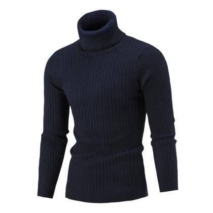 Men Sweater Autumn Winter Turtlenec..