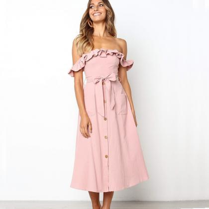 Women Casual Dress Off the Shoulder..