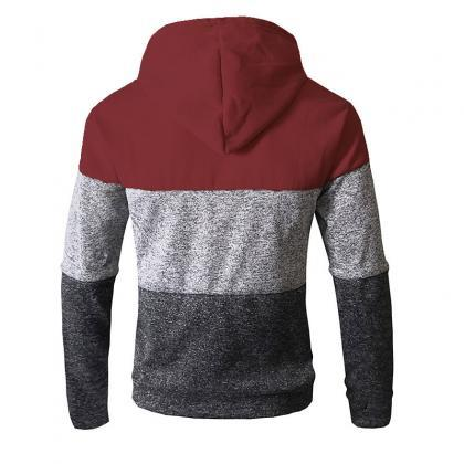 Men Hoodies Patchwork Color Long S..