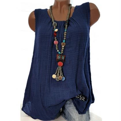 Women Sleeveless T Shirt O Neck Cot..