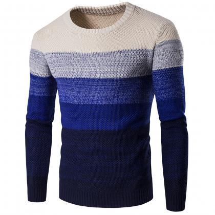 Men Knitted Sweater O Neck Striped ..