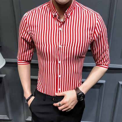 Men Striped Shirt Summer Turn-down ..