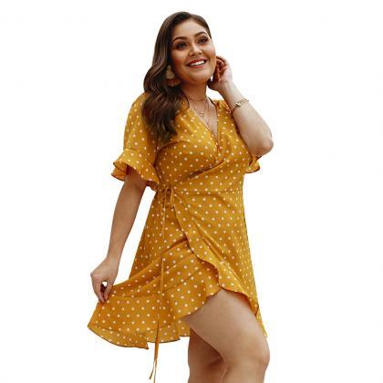 Women Polka Dot Dress V-Neck Short ..