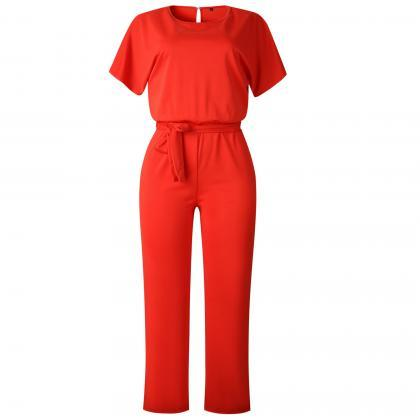 Women Jumpsuit Summer Short Sleeve ..