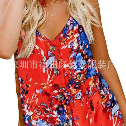 Women Button Tank Top Spaghetti St..