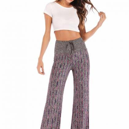 Women Striped Pants Drawstring High..