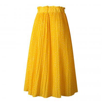 Women Polka Dot Pleated Skirt Sprin..