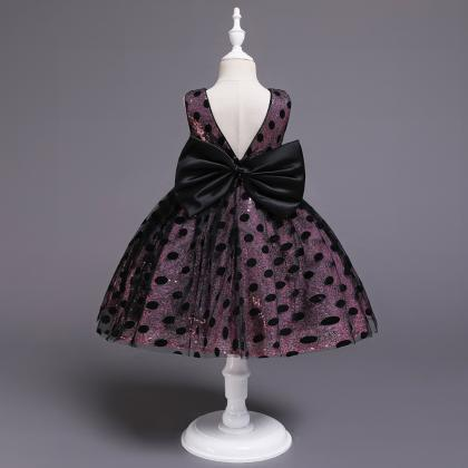 Polka Dot Flower Girl Dress Sleevel..