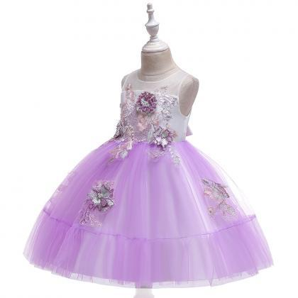 Applique Flower Girl Dress Princess..