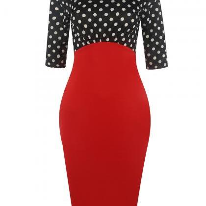 Women pencil dress New round neck s..