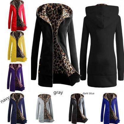 Women Warm Hooded Leopard Print Lon..