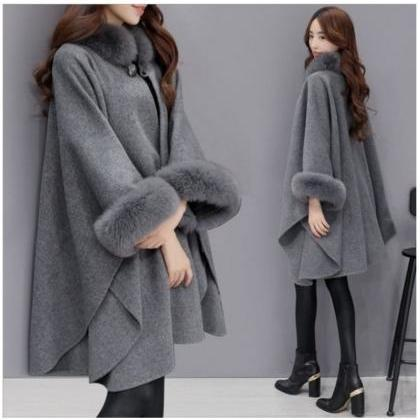 Women cape Coat 2019 Autumn Winter ..
