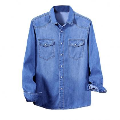 Men Denim shirt Long Sleeves slim f..