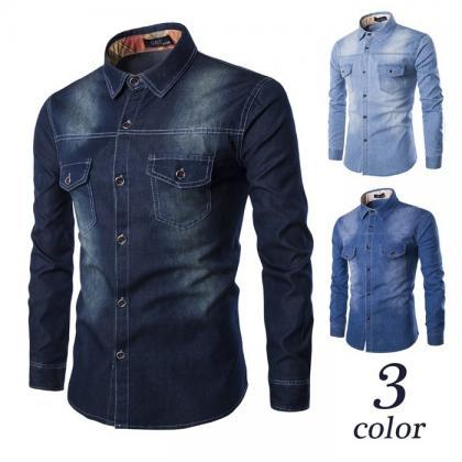 Men Long Sleeve Denim Shirt Casual ..