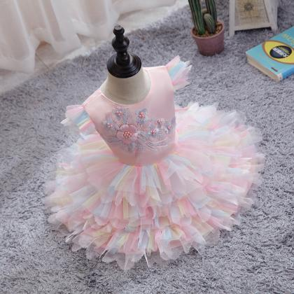 Baby girl clothes colorful net yarn..