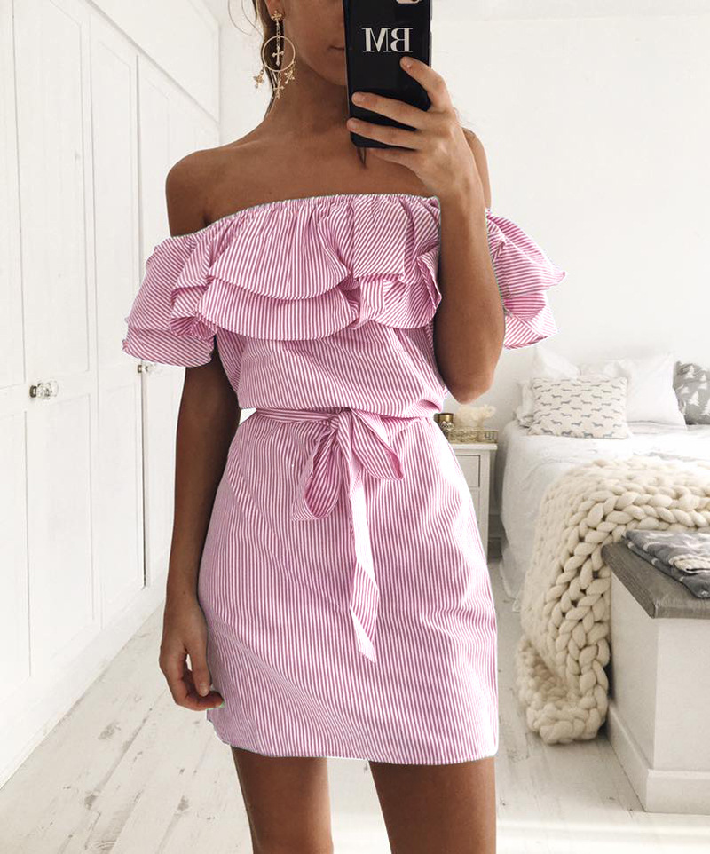 97d8bff05dc0fa Pink White Stripes Ruffled Off-The-Shoulder Short Dress Featuring Bow Accent  Belt