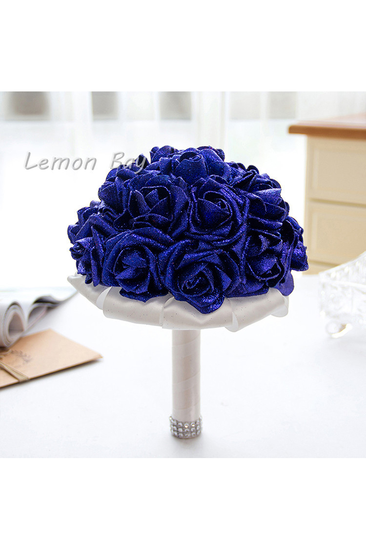 Artificial Handmade Rose Flower Bridal Bridesmaid Party Wedding Bouquet royal blue Color