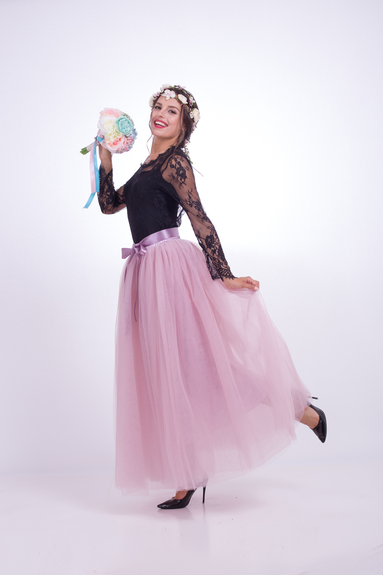 6 Layers Tulle Skirt Summer Maxi Long Muslim Skirt Womens Elastic Waist Lolita Tutu Skirts dusty pink