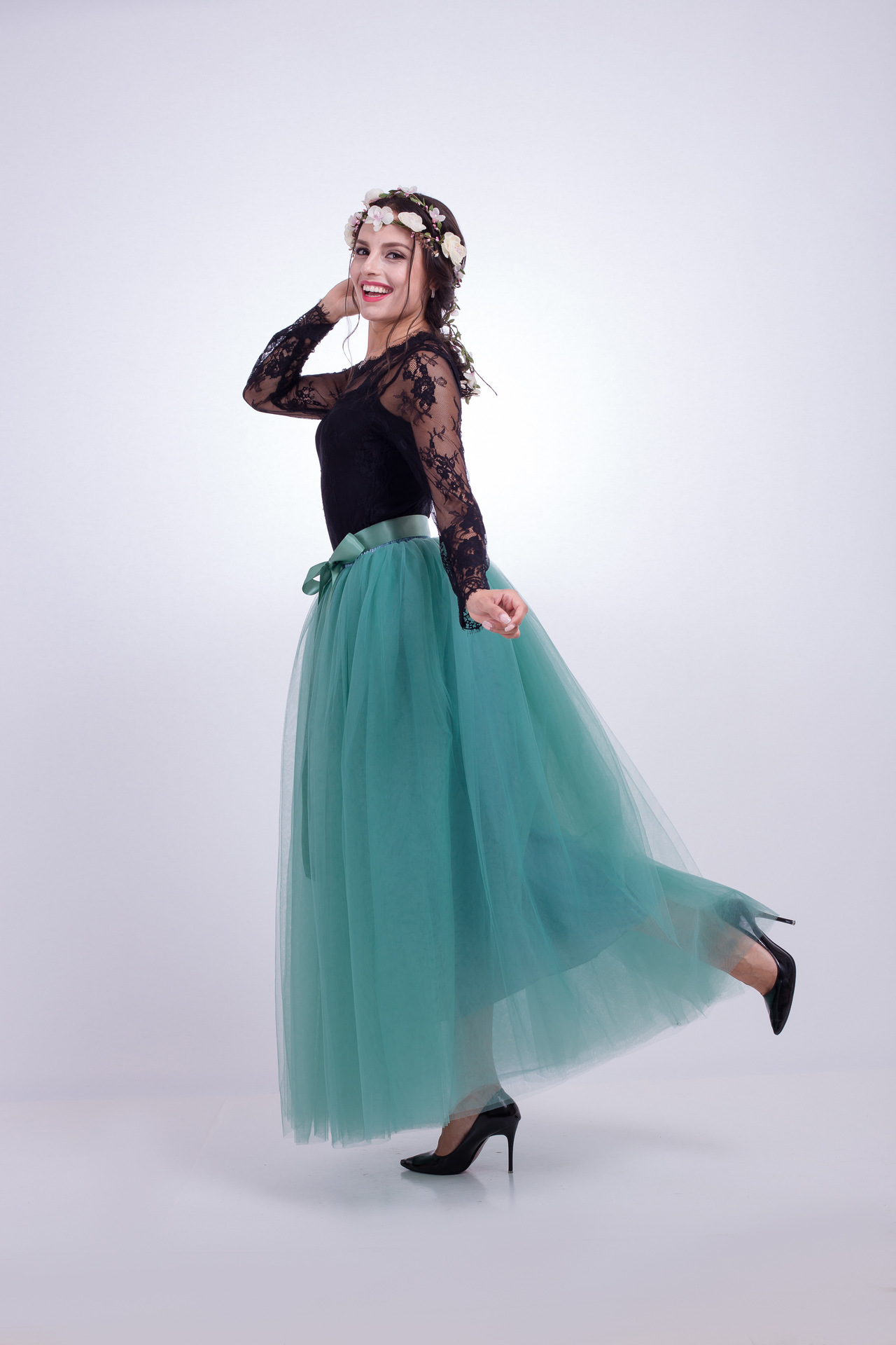 6 Layers Tulle Skirt Summer Maxi Long Muslim Skirt Womens Elastic Waist Lolita Tutu Skirts light teal