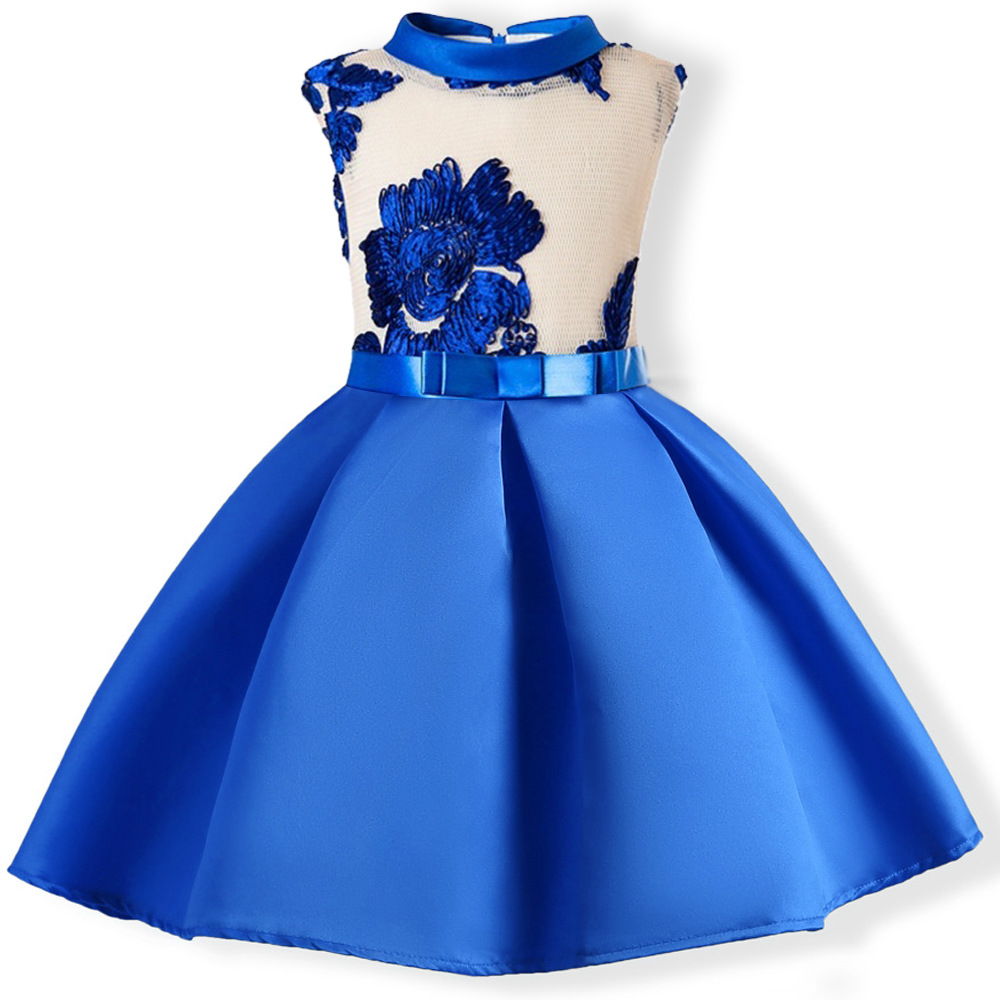 Embroidery Flower Girl Dress Princess Kids Formal Party Prom Gown Children Clothes blue