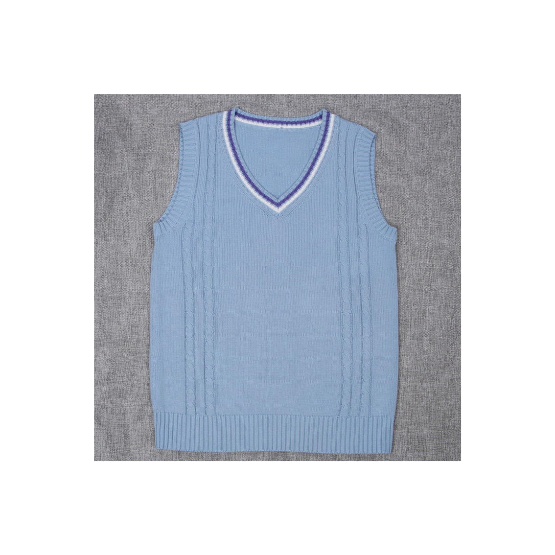 Japanese School Uniform Knitted Vest Women V-Neck Sleeveless Sweater JK Students Pullover blue