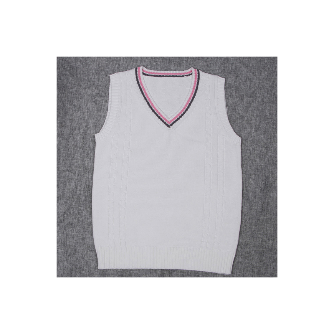 Japanese School Uniform Knitted Vest Women V-Neck Sleeveless Sweater JK Students Pullover off white+pink
