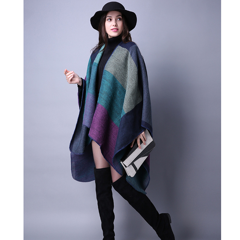 62be8b87a Women Lady Faux Cashmere Scarf Plaid Poncho Cape Floral Wrap Shawl Blanket  Cloak 3#