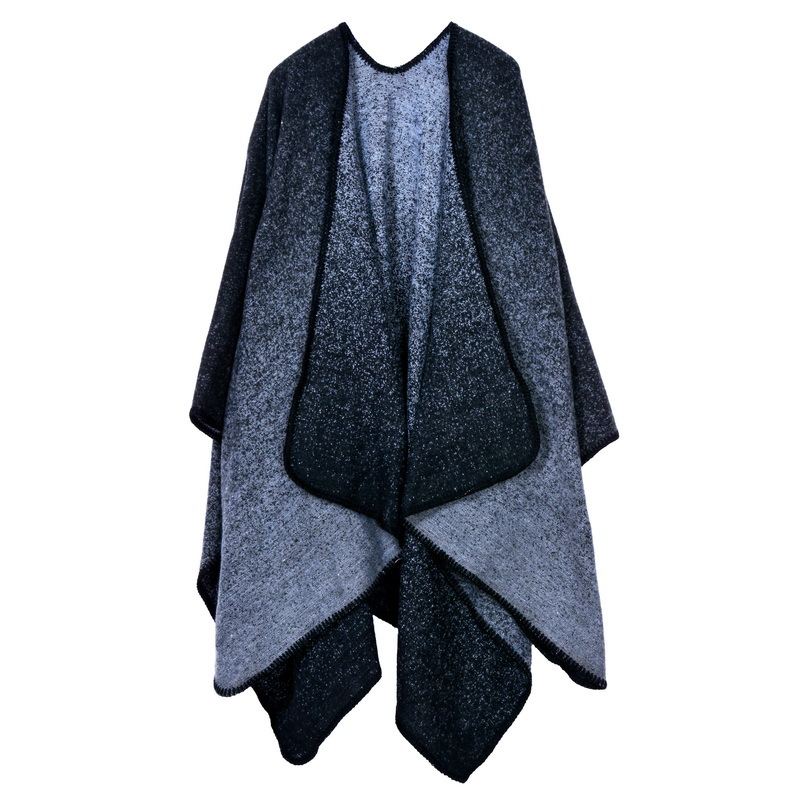 Women Lady Faux Cashmere Scarf Plaid Poncho Cape Floral Wrap Shawl Blanket Cloak 17#