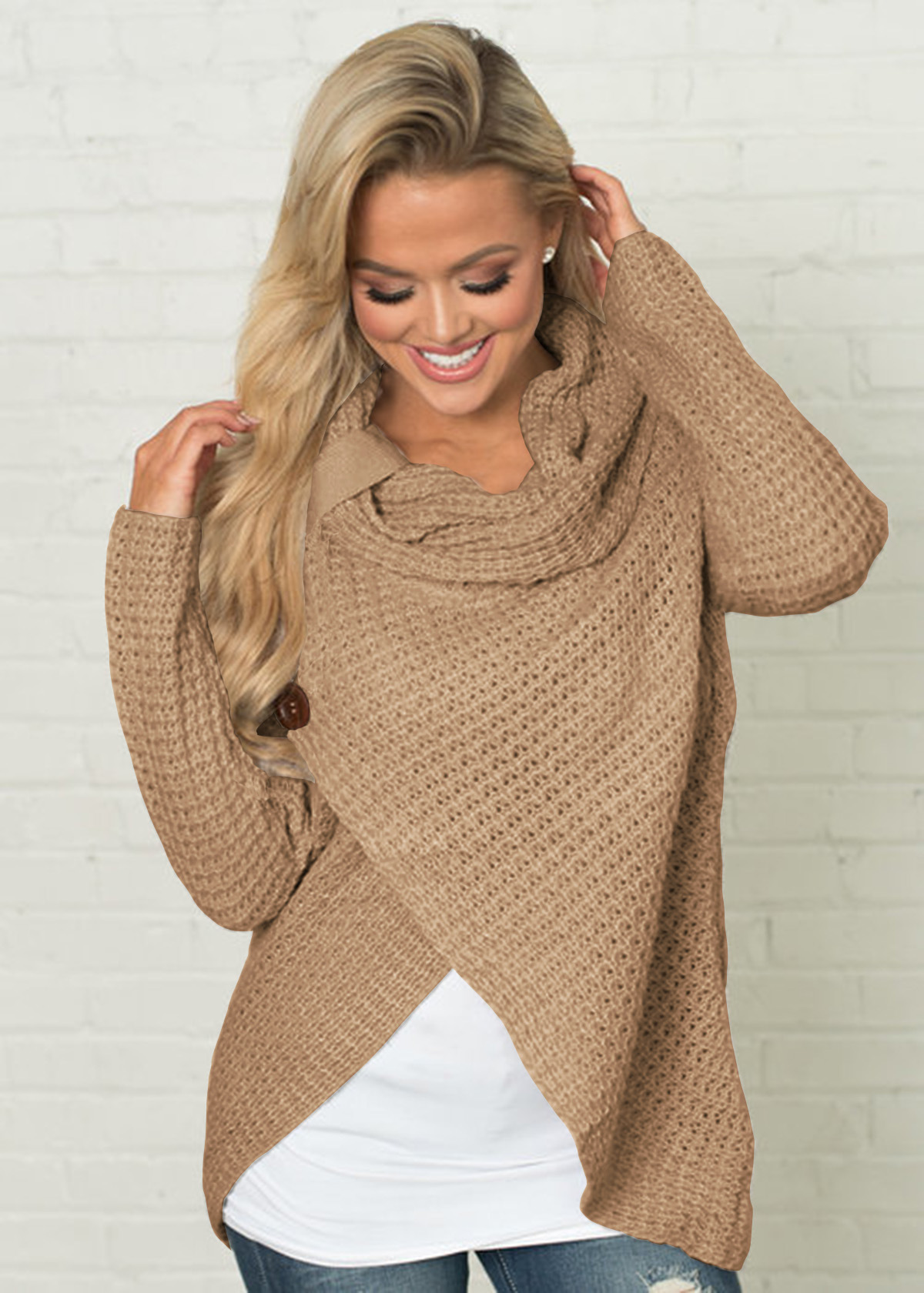 Women High Neck Sweater Buttons Loose Long Sleeve Asymmetrical Jumper Knitted Pullover Shirt khaki