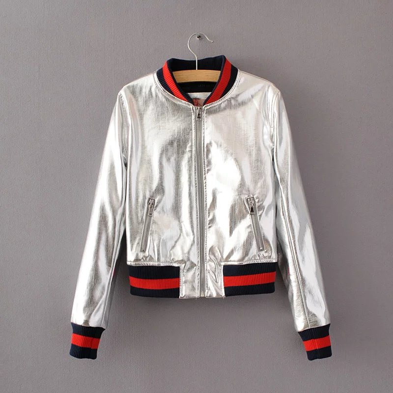 New Fashion Women Faux PU Leather Jacket Spring Autumn Slim Zipper Outwear Motorcycle Coat silver
