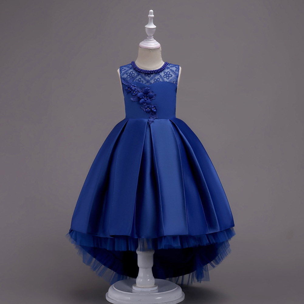 Princess Flower Girl Dress Lace High Low Wedding Birthday Party Tutu Gown Kids Clothes royal blue