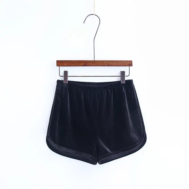 Workout Shorts Women Summer Loose Casual Elastic High Waist Velvet Shorts black