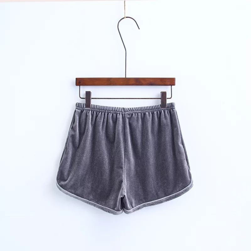 Workout Shorts Women Summer Loose Casual Elastic High Waist Velvet Shorts gray