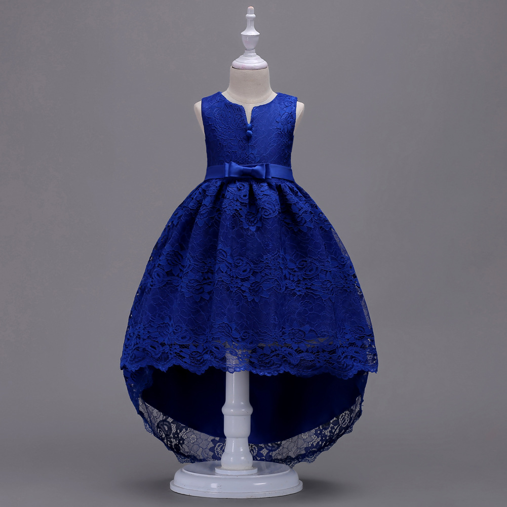 49539ef22df64 High Low Lace Flower Girl Dress Princess Wedding Birthday Party Teenage  Children Clothes Royal Blue