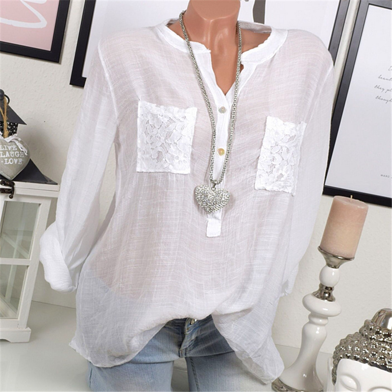 643f71998b 2018 Spring Plus Size Blouse Women Lace Tops Long Sleeve Casual Loose OL  Ladies Shirts off white